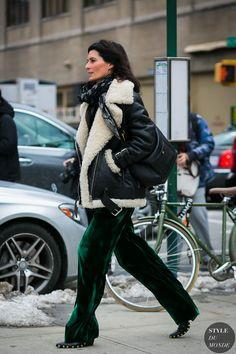 After Proenza Schouler  (Acne shearling biker jacket, Celine clog boots). NY Fashion Week Fall 2017.