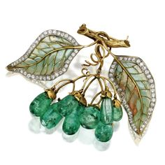 GOLD, EMERALD, DIAMOND, PLIQUE-À-JOUR ENAMEL BROOCH, MARCUS & CO., CIRCA 1900 The articulated cluster of grapes set with emeralds drops, suspended from a branch supporting leaves set with old European-cut diamonds weighing approximately 3.00 carats, applied with green and light pink plique-à-jour enamel