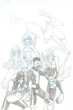 Anthony's Comic Book Art :: For Sale Artwork :: New X-Men Unfinished Pencil Cover - Signedby artist Humberto Ramos