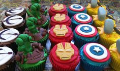 My Avengers cupcakes I made for a birthday party!