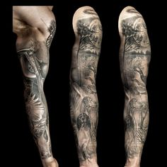 Hunting full sleeve tattoo for men part 1 by Steve Toth