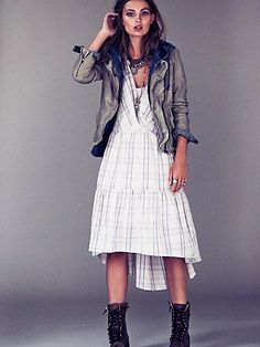 Free People Come as You Are Plaid Dress