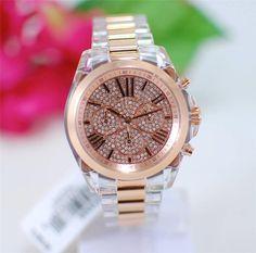 MICHAEL KORS Bradshaw Clear Rose Gold Glitz Watch MK5905  MichaelKors   Fashion Chronograph, Rose a80c9563fd