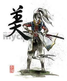 Female samurai https://www.etsy.com/listing/73707736/print-female-samurai-drawing-sword