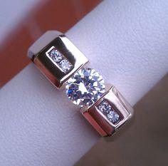 Men's 1.0CT Diamond Tension Set Ring