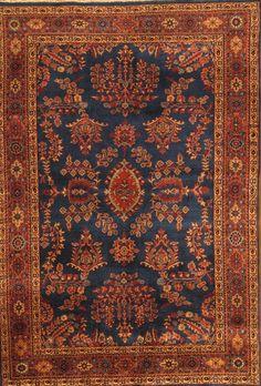 Pasargad Sarouk Rust/Navy Traditional Persian Style Area Rug | AllModern