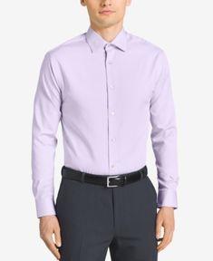 Calvin Klein Steel Men's Classic-Fit Non-Iron Performance Solid Dress Shirt - Purple 17.5 34/35