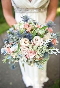 Wedding bouquets for dusty rose and dusty blue wedding Blue Wedding Flowers, White Wedding Bouquets, Bride Bouquets, Flower Bouquet Wedding, Wedding Colors, Bridesmaid Bouquets, Dusty Blue Bridesmaid Dresses, Rustic Flowers, Flower Bouquets