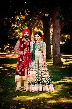 Unique gold and green Indian bridal lehenga Indian Bridal Lehenga, Indian Bridal Fashion, Pakistani Bridal, Sikh Wedding, Punjabi Wedding, Wedding Wear, Wedding Couples, Indian Attire, Indian Outfits