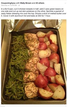 I used:   6–8 skinless boneless chicken thighs One package of ranch salad dressing mix (dry) 1 pound fresh green beans And parsnips  Parsnips were horrible for a myriad of reasons. The remaining dish was delightful.