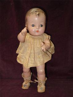Vintage Composition Baby Doll w/ Original Molly-'es Label Clothes AMERICAN Made