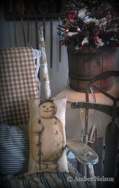 Frosty~ And Christmas tree in old bucket :-)