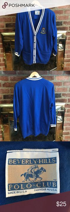 Beverly Hills Polo Club Vintage Women's Sweater Beverly Hills Polo Club vintage women's cardigan sweater size M in excellent condition. 2 pockets, 2 shoulder pads! Thank you for your interest! Beverly Hills Polo Club Sweaters Cardigans