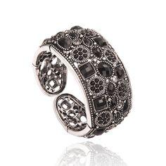 vintage jewelry  | Home Bracelets Vintage Marcassite Rhinestone Stretch Cuff Bracelet