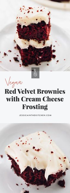 These Red Velvet Brownies are such a divine holiday treat! They're so amazin… These Red Velvet Brownies are such a divine holiday treat! They're so amazing in flavour, and the vegan cream cheese frosting on top is the perfect final touch! Red Velvet Brownies, Vegan Red Velvet Cupcakes, Vegan Brownie, Brownie Desserts, Brownie Recipes, Chocolate Desserts, Vegan Cream Cheese Frosting, Cream Cheese Brownies, Cream Frosting