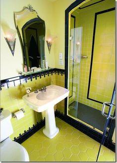 Yellow Spanish Revival Bathroom Tile