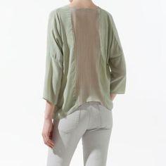 Blusa seda espalda combinado ZaraStudio - Chicfy