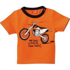 KTM OEM Parts Baby My Daddy T-Shirt Motorcycle Companies, Lifestyle Clothing, Oem Parts, My Daddy, Online Sales, Baby Bibs, Kids Gifts, Mens Tops, T Shirt