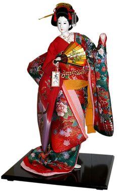 Japanese traditional interior doll with fan, Japanese Kimono Dolls Catalogue. The Black Samurai Online Shop. Hina Dolls, Kokeshi Dolls, Art Dolls, Japanese Fabric, Japanese Kimono, Japanese Doll, Japanese Traditional Dolls, Traditional Kimono, Geishas