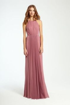 Light raspberry-colored bridesmaid dress with halter neck and front pleats by @m_lhuillier | Bridal Market Fall 2016