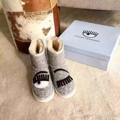 2016 Winter Arrivals Fashion Chiara Ferragni Popular Style Womens Brands Shinny Glitter Snow Boots Wholesale Price