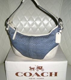 I'm auctioning '2 COACH Soho Blue Signature Small Hobo Bag  ' on #tophatter