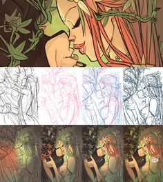 Digital art Poison Ivy process by Otto Schmidt. Otto Schmidt, Art And Illustration, Character Illustration, Art Illustrations, Digital Painting Tutorials, Art Tutorials, Cartoon Drawings, Art Drawings, Drawing Faces