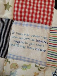 Keepsake quote for a memory quilt www.buntysbasket.co.uk