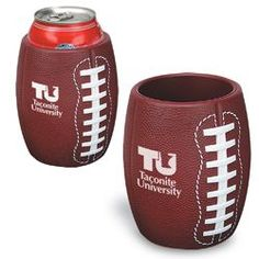 PL-0808 Football Can Holder. Strong flexible polyurethane with textured grip. Holds a standard 12 oz. can. Sports Promotional Items. Custom Printed Athletic Giveaways & Products available w/ your custom logo or message. Promotional products & promo giveaway items for branding your team, athletic department, walk, run, company or event, or organization! www.abetteridea.com