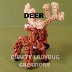 Rainbow Loom Charm DEER OR REINDEER How to Make by Crafty Ladybug