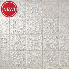 New! Aged White Ornato Matte Ceramic Tile