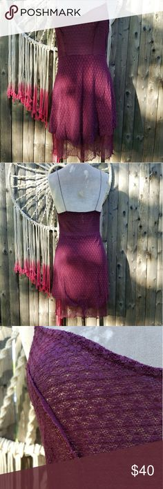 Intimately Free People Purple Lace Sheer Dress Lovely bodycon spaghetti strap slip dress by Free People. Does have stretch. Second lace hem, semi see through.   Don't hesitate to ask any questions! Free People Dresses Mini