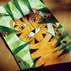 Ein Tiger im Dschungel... ich bin gespannt auf die Ergebnisse der Ersties! #grundschule #kunstunterricht #lehreralltag
