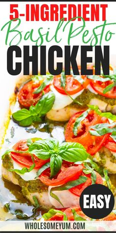 An easy baked basil pesto chicken recipe in just 25 minutes! Aromatic pesto, sweet tomatoes, and gooey mozzarella make pesto chicken breast juicy and flavorful. #wholesomeyum Low Carb Recipes, Real Food Recipes, Diet Recipes, Cooking Recipes, Healthy Recipes, Paleo Ideas, Recipes Dinner, Diabetic Recipes, Basil Pesto Chicken