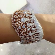 Best Diamond Bracelets : Details about 925 Sterling Silver Cz Wave Rain Water Style Bracelet Rose Gold Plated Niki Gems Diamond Bracelets, Bangle Bracelets, Bangles, Diamond Jewellery, High Jewelry, Modern Jewelry, Jewellery Sale, Faberge Eier, Glitter Make Up