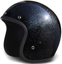 BLACK METAL FLAKE Daytona DOT Motorcycle Helmet OLD SCHOOL 3/4 NEW DC7A All Size