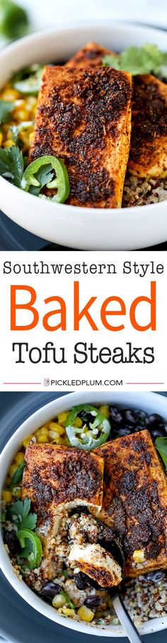 Southwestern Style Baked Tofu Steaks - These spiced up Tofu Steaks are smoky and hearty like meat – and easy to make for any home chef! tofu recipes healthy, baked tofu recipes, bean curd, how to cook tofu, tasty tofu recipes | pickledplum.com