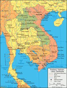 Political Map of Myanmar Thailand Laos Cambodia Vietnam