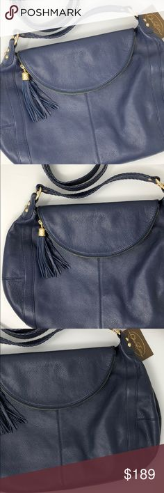 """ONNA EHRLICH BLUE LARGE LEATHER BAG Gold tone accessories. Braid stitching on the handles of the shoulder and handle. Removable shoulder strap. Tassel for your zipper closure. Soft Pebbled leather for added texture. Beautiful stitching detail on sides to make this purse modern. Can be carried as a side body. Beautiful bag. Blue is a little more difficult to find. This is a nice bag! Shoulder 18.5"""" Onna Ehrlich Bags"""
