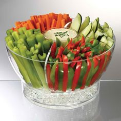 Shop Cold Bowl on Ice Server at CHEFS.  I also like the idea of standing up the veggies and sitting the bowl on ice; maybe use a juice glass for the dip?