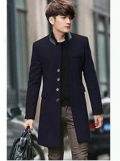 Mens Slim Fit Woolen Trench Coat Korean Fashion Jacket Outwear Jacket Black US S   eBay