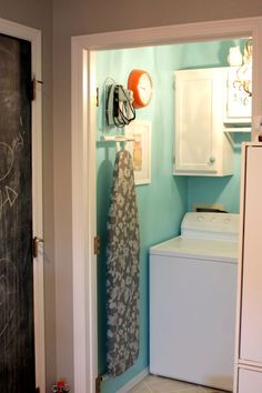 laundry room color- The wall color is Aqua Chiffon (A58-3) from Olympic Paints (Lowe's)