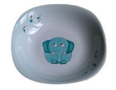 """Assiette en porcelaine """"Eléphant bleu"""""""