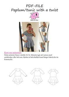 PDF-mønster/pattern: Peplum Tunic With a Twist woman size 34-54 (US 4-24)