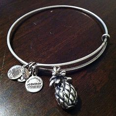 Alex and Ani Bangle Bracelet Pineapple in Russian Silver