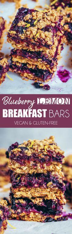 Blueberry Lemon Breakfast Bars #breakfast #blueberries #lemon #oats #oatmeal #healthy #vegan #dairyfree #glutenfree #bars #squares #crumble #dairyfree #snack #dessert #treat