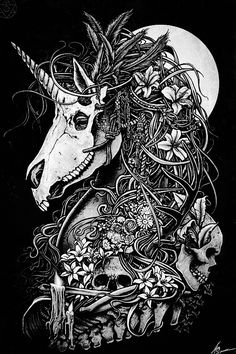 Unicorn skull by Christopher Lovell so intense! Art And Illustration, Fantasy Kunst, Fantasy Art, Totenkopf Tattoos, Unicorn Tattoos, Inspiration Art, Tattoo Inspiration, Arte Horror, Art Graphique