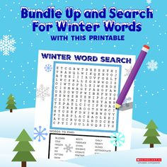 Cozy up inside together on a chilly day with some hot chocolate and this word search, perfect for your 6 to 7-year-old.