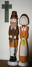 Vintage Blow Mold Pilgrims Thanksgiving Don Featherstone Union Products - I love these!!!