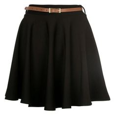 Black High Waisted Skater Skirt ($19) ❤ liked on Polyvore